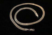 """Solid 14k Gold Italy Herringbone Necklace 18 1/4"""" long 6mm wide"""