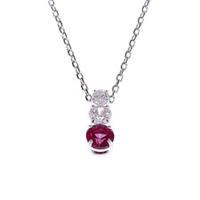 Swarovski Attract Trilogy Red And White Crystal Pendant Rhodium Plating