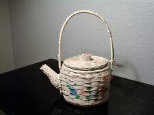 Vintage WICKER TEAPOT HANDBAG White Wicker Teapot Handbag, Painted Floral Motif