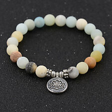 "7"" Lotus Pendant Amazonite Bracelets Men Women Yoga Mala 8mm Beads Meditation"