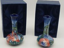 More details for old tupton ware hibiscus bud vases 10 cm boxed x 2 tube lined hand painted 1577