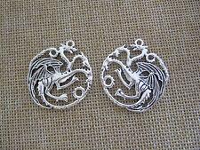 6x Game of Thrones House Targaryen Logo Dragon Charm Pendants For Earring Making
