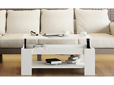 Living Room Coffee Table Lift Top Storage and Shelf Modern Wooden Furniture Unit White
