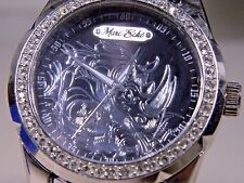 MEN'S BIG 45mm WITH CROWN MARC ECKO SILVER 3D POP ART LUCK RHINO GEMMED WATCH