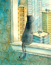 8x10 archival PRINT - Looking Over the City - cat, pet, animal, city, landscape