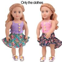 Doll Clothes Floral Skirt + Pink/Purple Strap Vest Suitable for 18 Inches Dolls