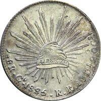 Mexico 8 Reales Go 1885/75 R.R. Guanajuato, Overdate. KM# 377.8 (SKU2)
