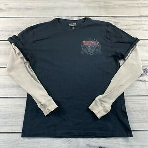 Lucky Brand Long Sleeve T-Shirt Medium Thermal Vintage Inspired  Motorcycles Tee