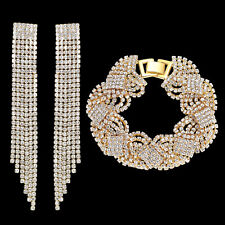 18K YELLOW GOLD PLATED CRYSTAL & RHINESTONE TASSEL EARRING AND BRACELET SET