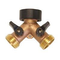 2-Way Brass Y Hose Connector Splitter