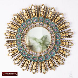 """Turquoise Decorative Sunburst Mirror 17.7"""" from Peru, Wood & Glass Round Mirror"""