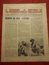 LA RADIO NELLA SCUOLA EIAR AMEDEO DI SAVOIA DUCA D'AOSTA 1942 AFRICA COLONIE
