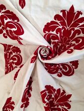4 Metres Cotton Canvas With Medallion Velvet Flock Curtain & Upholstery Fabric