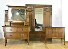 Antique Arts and Crafts oak bedroom suite - wardrobe dressing table washstand