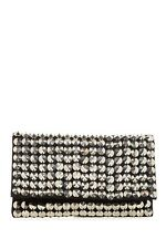 NEW BCBGeneration BCBG PURSE HANDBAG CLUTCH BLACK VEGAN LEATHER SILVER STUD BAG