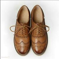Women's Real Leather Flat Oxfords Brogues Wingtip Lace Up Shoes Casual Shoes New