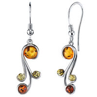 Sterling Silver Baltic Amber Spiral Drop Dangle Earrings Multi-color