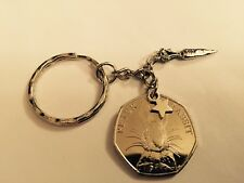 Peter Rabbit 50 pence coin KEYRING CHAIN with star and carrot Birthday boy gift