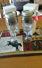 Two Original Rednek  Wine Glasses By Carson Mason Jar Lid NIB