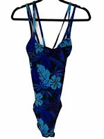 NEW Speedo One Piece Moderate Swimsuit Women's 14 Women's Floral Blue Black NWT