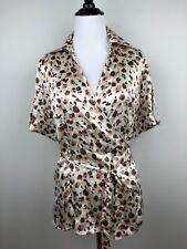 Alfani Top Womens Silk Top Ivory Animal Size 4 Short Sleeve V-neck Wrap Blouse