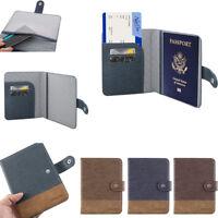 Leather Passport Holder RFID Blocking ID Case Credit Card Wallet Men / Women's