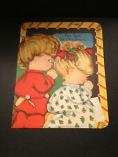 Vtg 1950s Art Guild Christmas Card Boy Girl Child Prayers Used