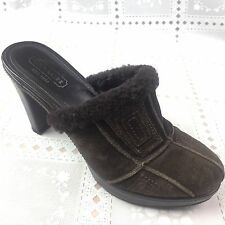 COACH Aubrey Womens Clogs Size 8 B  Brown Suede Leather High Heels Quilted Shoes