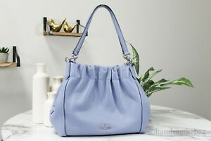 Coach C1454 Maya Large Periwinkle Pebbled Leather Shoulder Bag Hobo Handbag
