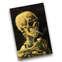 Vincent Van Gogh Skeleton Skull Smoking A Cigarette Cave Wall Poster