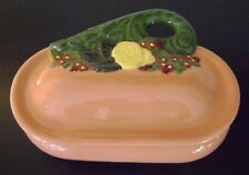 Vintage 1977 BYRON MOLDS POTTERY Footed TRINKET BOX with Lid YELLOW ROSE
