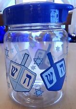 Hanukkah Plastic Flip-Top Storage Jar