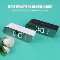 Trapezoid Digital LED Mirror Alarm Clock Snooze Table Clock Temperature Display