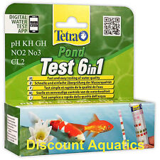 TETRA POND TEST STRIPS 6 IN 1 QUICK DIP TEST KIT pH KH GH NO2 NO3 CL2 WATER FISH