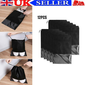 12x Portable Shoes Bag Travel Storage Pouch Drawstring Dust Bags Clear Non-woven