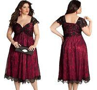 New Ladies Elegant Lace Embellished Red Plus Size Dress club work wear 14 16 18