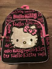 Hello Kitty Back Pack Black Pink Silver Glitter Kids Backpack Bow Hellokitty 16""