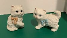 Vintage Homco Pair Of Playful Cats Kittens With Bows White Ceramic Figurines