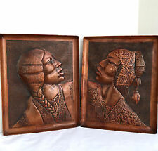 Vintage Tooled Leather Relief Repousse Framed Pictures Peru Handmade