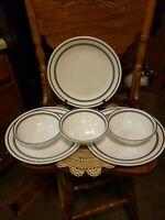 Corelle Cafe Black * Set of (6) with (3)  Dinner Plates & (3) Cereal Soup Bowls
