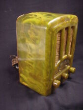 "EMERSON ""GREEN"" RARE! CATALIN RADIO TOMBSTONE AU-190 1938 CLASSIC ART DECO NICE"
