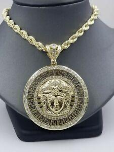Real 10K Yellow Gold Medusa Head Charm Pendant with Diamond Cut design Mens