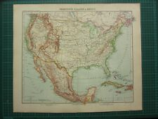 1907 DATED MAP ~ UNITED STATES OF AMERICA MEXICO CUBA JAMAICA BAHAMAS