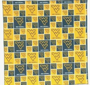 "Bandanna for West Virginia University Yellow 100% Cotton #370 Handmade 21""X21"""