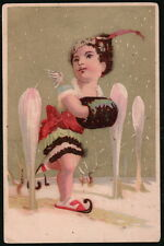 ROSENBLATT LAUNDRY SOAP Vtg Victorian Trade Card Old NY Ice Skating Hand Muff