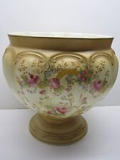 ANTIQUE CROWN DEVON FIEDING'S PEDESTAL CACHE POT/ BOWL WITH MAY FLORAL PATTERN