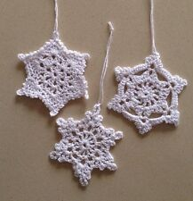 Three White Hand Crochet Christmas Decorations  Very Quick Delivery