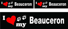 (3) I love my Beauceron dog bumper vinyl stickers decals 1 large 2 small