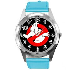 GHOSTBUSTERS FILM SCIFI MOVIE CD DVD BLUE REAL LEATHER STAINLESS STEEL WATCH