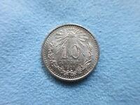 MEXICO 10 centavos 1907 AU / UNC Silver